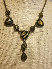 Fashion Jewellery Necklace gold Tone chain and Pendant black/ gold stones