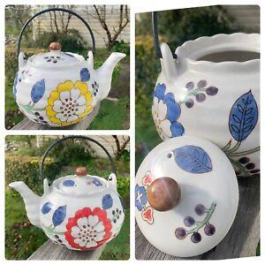 Large 1.2L Round Modern TeaPot Red Yellow Blue Cream Ceramic Metal Handle M&F
