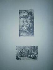 Planche gravure H-B Bourguignon dit Gravelot vignette l'Astrée / atelier peintre
