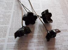 Vintage Glass Black Flower HeadPins 24 gauge 3 inch Head Pins Made in Japan 6pcs