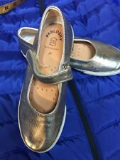 Pablosky Girls Gold Metallic Mary Jane Natural Leather Shoes Sz Eu 33