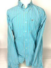 Mens Hollister Long Sleeve Cyan Blue White Stripe Button Up Shirt XL Xtra Large