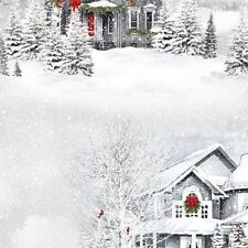 Quilting Treasures Home for the Holidays  25897 K Gray Winter Scenic Cotton Fab