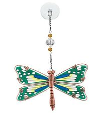 Dragonfly Hand Painted Glass Suncatcher NEW green stained garden summer metal