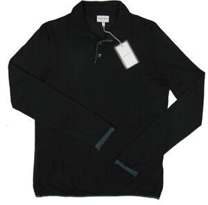 NEW $975 Giorgio Armani Polo Style Sweater!  e 56 (Large)   Black with Blue Trim