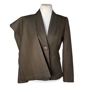 TAHARI 2PC Brown Polyester Blend Single Breasted Pant Suit Size 2
