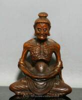 "4"" Chinese Buddhism Boxwood Wood Carving Skinny Arhat ascetic monk Buddha Statue"