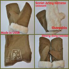 USSR Russian Soldier Soviet Army Winter Mittens Sheep Wool Sheepskin Fur XL Men
