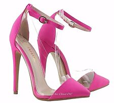 Womens Clear Lucite High Heels Ankle Strap Color Stiletto Heel Sandals Shoes