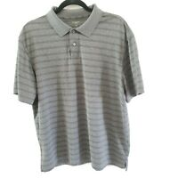 Haggar Mens Polo Shirt Short Sleeve Grey Polyester Sz Large