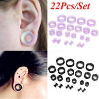 22Pcs Flexible Silicone Ear Flesh Tunnels Plugs Gauges Expander Stretching Kits