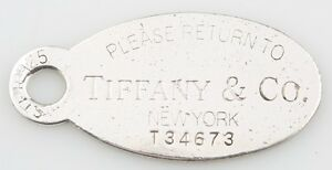 """Tiffany & Co. Sterling Silver Extra Large """"Return to"""" Oval Tag Charm Rare Piece"""