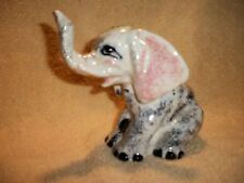 Vintage Multi-Colored Ceramic Elephant Figurine! Trunk Up For Good Luck