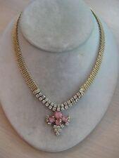 "Estate Costume Vintage Rhinestone Necklace Pink Cabochons 16"" Gold Tone"