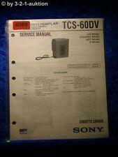 Sony Service Manual TCS 60DV Cassette Corder (#4069)