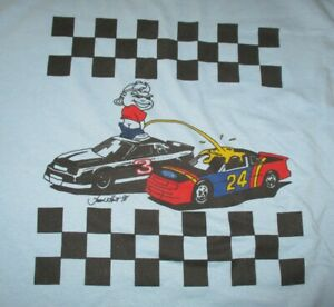 Best Fruit Loom 1998 DALE EARNHARDT'S Crew Pissing on JEFF GORDON Car (LG) Shirt