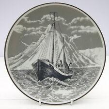 Vintage Retro 1960s Porsgrund Norway Plate Fishing Sailing Boat