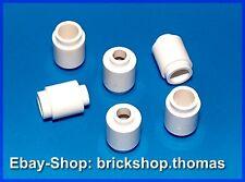 Lego 6 x Stones round White - 3062b - Brick, round 1 x 1 White - New / New