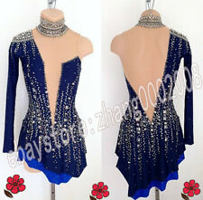 Stylish Ice skating dress. Dark Blue Twirling Competition Figure Skating Costume