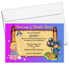 10 Personalised Pirate and Princess Birthday Party Invitations N23 Girls Boys