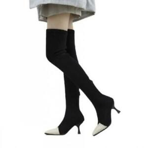 Womens Ladies Pointy Toe Kitten Heel Over The Knee Stretch Thigh High Boots L