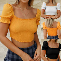 Women Fashion Sexy Summer Square Collar Puff Sleeves Chiffon Pleated Retro Top B
