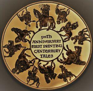 Canterbury Tales 500th Anniversary Bronze Proof Medallion~Franklin Mint~Free Sh