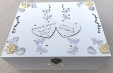 SO PRETTY! Personalised Large Wooden Wedding Engagement Keepsake Memory Box Gift