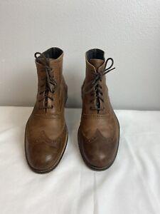 TAFT Men's Brown Leather Oxford Wingtip Boots Sz EU 46 US 13 Model 8045