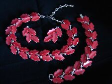 VINTAGE SIGNED LISNER THERMOSET RED LEAF NECKLACE BRACELET EARRINGS PARURE SET