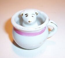 Antique Made in Japan Porcelain Pig in Mug Cup Miniature 1 1/2""