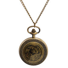 Vintage Oriental Chinese Style Bronze Dragon Phoenix Pocket Watch With Chain