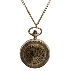 Vintage Oriental Chinese Style Bronze Dragon Phoenix Pocket Watch With Chain