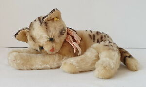 """Vintage STEIFF FIFFY Mohair Cat 25 cm or 10"""" Paw to Tail Button + Flag 1950/60's"""