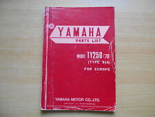 Parts List catalog catalogue pièces CATALOGUE YAMAHA TY 250 (516) 1978