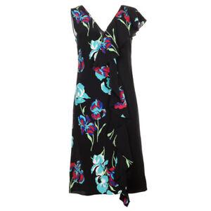 DVF DIANE VON FURSTENBERG Dress Black Floral Silk Side Ruffle RRP £358 BG