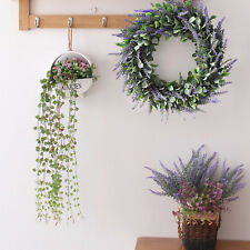Artificial Silk Flower Lavender Fake Wreath Nature Purple Plant Home Door Decor