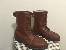 USA VINTAGE SEARS BROWN LEATHER LACE UP PACKER CHORE BOOTS 10.5 EE