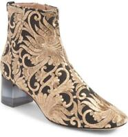 Tory Burch Women's Carlotta Nayan Brocade Ankle Boots Bootie Gold Black Size 5