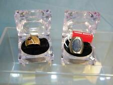 2 MISS SIXTY rings BLUE DENIM Stainless Steel & M Genuine Diamonds & Gold Plated