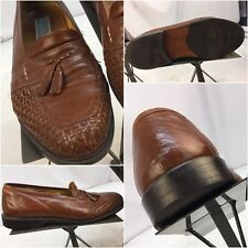 Stanley Blacker Loafers Shoes Sz 6 Men Brown Braided Leather Italy YGI I7