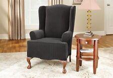 NEW Stretch stripe jet black pin stripe wing chair surefit sure fit  slipcover