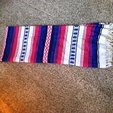 Mexican Falsa Serape Blanket Pink Blue & White Aztec Lines White fringe Saltillo