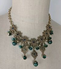 Anthropologie Necklace Green Gold Statement Necklace NEW