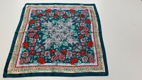 """HH249 WOMENS CORNELIA JAMES GREEN RED FLORAL HEAD NECK SQUARE SCARF 27"""" X 27"""""""