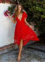 BNWT Angel Biba Vivid Red Crochet Lace Mad Rush Cocktail Dress size 6 8 10 12