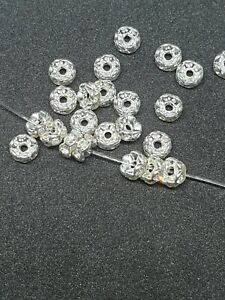 100 Clear Rhinestone Rondelle 6mm Spacer Beads  Silver for Jewelry Making