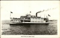 New York City Statue of Liberty Steamer Steam Boat Real Photo Postcard