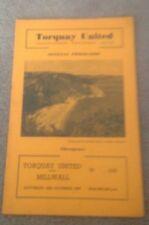 TORQUAY UNITED V MILWALL - DIVISION THREE (SOUTH) - 12/10/1957