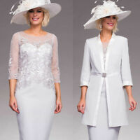 Mother Of the Bride/Occasion Dresses Outfit Jacket 2pcs Knee Length Party Gowns